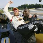 Earnhardt Jr. jokes around with Shaquille O'Neal, who raced Junior in the premiere episode of Shaq VS.