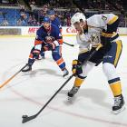 His roommate at the Olympic orientation camp was Ryan Suter. In Nashville, it's expected that he'll be teamed with Shea Weber. Those pairings speak volumes about the expectations Jones faces this season. Just remember to temper them early on: this right-handed blueliner could be asked to play the left side for the Preds, a switch that demands an adjustment period.