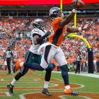 Demaryius Thomas pulled in this pass and got both feet in for a TD against Philadelphia.