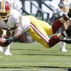 Pierre Garcon dove for the goal line for a would-be Washington touchdown but was ruled to have gone out of bounds first.