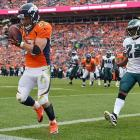 Wes Welker of the Broncos found the front right corner of the end zone to his liking too.