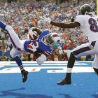 Buffalo Bills free safety Aaron Williams comes down with one of the Bills' five interceptions of Joe Flacco and the Baltimore Ravens. Buffalo won 23-20.