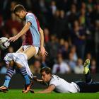 Jan Verttonghen of Tottenham Hotspur came up shorts in his pursuit of Aston Villa's Nicklas Helenius during the third round match at Villa Park in Birmingham, England.