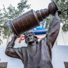The Great One stands unscathed with his shaving mug in front of Rexall Place in Edmonton. Unfortunately, two new likenesses in his hometown of Brantford, Ontario, were defaced with spray paint.