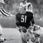 Chicago Bears linebacker Dick Butkus reacts to a referee after recovering the ball on a turnover by the Los Angeles Rams, circa 1965.