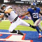 Brent Celek corralled this ball on an acrobatic catch and maintained possession when he hit the ground for the go-ahead touchdown in Philly's win over the Giants.