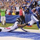 While streaking down the sideline, T.Y. Hilton got both feet in bounds to help the Colts defeat Seattle at Lucas Oil Stadium.