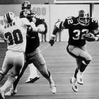 """The Bucs' minus-287 point differential remains an NFL record. Quarterback Steve Spurrier threw just seven touchdown passes -- all year. Not much went right in their inaugural season. Weeks 12 and 13 were especially brutal. After getting banged up in a 49-16 loss to the Raiders (the eventual Super Bowl champs), the Bucs traveled to Three Rivers Stadium to face the defending champion Steelers. Said Tampa Bay coach Jim McKay afterward: """"We had no players, and the ones we did have wanted to stay at the hotel by the fire. I was ticked, because that's where I wanted to stand."""" In bone-chilling 23-degree weather, Pittsburgh easily covered the spread, outgaining Tampa by 280 total yards in a 42-0 thumping."""