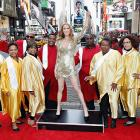 Her heart will go on, even if it's made of wax. The refugee from Madame Tussauds was welcomed in Times Square by famed Gospel Choir, as seen on <italics>The Late Show </italics>with David Letterman.