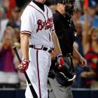 Chipper Jones' final game will be remembered for, of all things, an interpretation of the infield fly rule. With two runners on and the Braves trailing 6-3 in the eighth inning, shortstop Andrelton Simmons hit a high pop up nearly 80 feet past the infield dirt. The ball dropped in, and Atlanta appeared to have the bases loaded with just one out. But umpires ruled that the ball, which landed 225 feet from home plate, was an infield fly, and the batter -- Simmons -- was automatically out. The Braves formally protested the game, and there was a 15-minute delay as fans began hurling trash onto the field, but it was to no avail. St. Louis eliminated Atlanta with a 6-3 win.