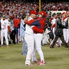 Manager Tony La Russa hugs Albert Pujols after winning Game 5 and the World Series over the Detroit Tigers in 2006. Pujols won Rookie of the Year and three MVPs during his 11 seasons in St. Louis.