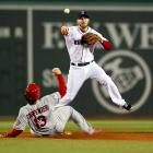 Stephen Drew turns a double play in the third inning.