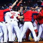The Red Sox celebrating after winning the eighth World Series championship in franchise history.