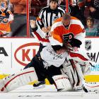 When goalies square off, you never know if you'll get a stirring heavyweight bout, a clumsy waltz between two sacks of equipment, or a brutal one-sided beatdown like this one. As the two teams began to scrap, Emery, the frustrated Flyers' netminder, left his crease on the short end of a 7-0 score and started pounding on his Capitals counterpart, who wanted no part of a fight and took a frightful thrashing. Emery's antics led to calls for his suspension (the NHL declined, citing no grounds) and referee Francois St. Laurent took heat for not intervening. Click here to watch the fight! Here are 19 more notable goalie dust-ups with video for your entertainment pleasure.