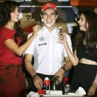 The Red Sox' facial locks weren't the only notable sprouts to meet up with a razor. Here we have Formula One driver Sergio Perez preparing to be sheared by Bollywood actresses Neha Dhupia, left, and Aditi Rao Hydari in New Delhi, India.