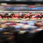 The field passes the straight in race 3 -- the Carnival Handicap -- during Melbourne Cup Day at Flemington Racecourse in Melbourne.