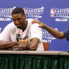 """The normally affable Hibbert had an out-of-character press conference following a Pacers win over the Heat in the 2013 playoffs. While discussing guarding LeBron James, Hibbert said, """"He stretched me out so much. No homo."""" Later in the same session, Hibbert called the media """"m-----------s"""" who didn't watch the Pacers play. Hibbert publicly apologized almost immediately after the press conference."""