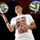 Suppliers of the World Cup balls since 1970, adidas revealed on Dec. 3 the design of the ones that will be used in Brazil. Cafu poses with the ball during the launch in Rio de Janeiro.