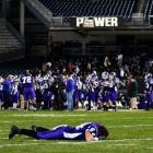 Tottenville linebacker John Fishetti (44) shows his disappointment after his team was defeated in the championship game.