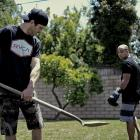 Jason Parillo cleaning up during an impromptu backyard training session with BJ Penn.