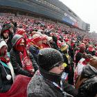 A record crowd of 105,491 battled massive traffic jams to sit in 13-degree weather with a zero degree wind chill.