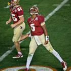 Winston celebrates after throwing the touchdown pass that gave the Seminoles a late lead and an eventual victory.