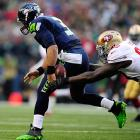 Russell Wilson fumbled the ball on the Seahawks first play from scrimmage.