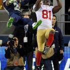 Anquan Boldin scored on a 26-yard pass to give San Francisco a 17-10 lead in the third quarter.