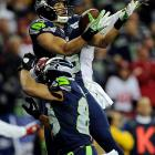 Jermaine Kearse caught this laser of a pass for a touchdown on a fourth-and-seven play in which the 49ers were offsides. It provided a 20-17 lead that the Seahawks never surendered.