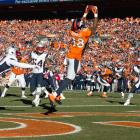 Denver Broncos wide receiver Demaryius Thomas catches a touchdown pass in the third quarter of Sunday's AFC Championship against the New England Patriots. The catch gave Denver a 20-3 lead and helped the Broncos advance to the Super Bowl with a 26-16 victory.