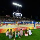LA's iconic ballpark was transformed into an entertainment palace featuring such distinct California touches as beach volleyball and yoga.