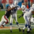 Though Chicago jumped out to an early 14-6 lead behind the Hester kickoff return touchdown and a Rex Grossman touchdown pass, the Colts took a 16-14 lead into the locker room with help from a 53-yard touchdown strike from Manning to Reggie Wayne.