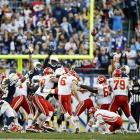 The San Diego Chargers went 9-7 in 2013, but that was only good enough to finish third in the AFC West. The Chargers managed to finagle a playoff spot, but it wasn't easy. San Diego needed losses by Miami and Baltimore in both Weeks 16 and 17, and then it took overtime for the Chargers to defeat the Chiefs in Week 17. At one point, a 41-yard field goal by Chiefs kicker Ryan Succop (pictured) would have sent the Chargers packing. Not only did Succop miss, but also the officials missed an illegal formation penalty that would have given him another shot from five yards closer.