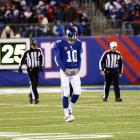 Why the elder Manning was setting record, his younger bother had a season to forget. Eli Manning threw a league-high 27 interceptions, compared to only 18 TDs. The rest of the Giants underperformed, too. The G-Men finished well below the league average in points and yards, but did manage to lead the NFL in something: Turnovers, with 44.
