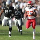 Jamaal Charles made history when the Chiefs traveled to Oakland in Week 15, and it happened to be during the fantasy football playoffs. Charles caught eight passes for 195 yards and four TDs. He reached pay dirt on the ground for a total of five TDs on the day. The only time a player ever scored more TDs was Gale Sayers, who scored six TDs in 1965.
