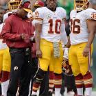 In his return from offseason knee surgery, Robert Griffin III didn't look like the RG3 that fans have come to expect. Through 13 games, RG3 was remarkably durable. He didn't miss a start, threw for 3,203 yards and even ran for another 489 yards. However, he just didn't seem to be 100 percent healthy. The explosiveness that defined the young QB as a rookie seemed diminished. In a bizarre move that may have led to his dismissal, Mike Shanahan shut down his medically cleared quarterback with three games remaining. We'll probably never know the true motive behind RG3 being shut down, but Redskins fans won't care if he's back to full strength in 2014.