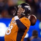 Peyton Manning was intercepted twice in the first half and nearly had a third one picked off.