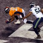 Denver Broncos running back Knowshon Moreno recovered the ball in the end zone for a safety.