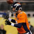 The game got off to a rough start for Denver when the first snap from scrimmage went flying past Peyton Manning's head and into the end zone.
