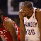 Kevin Durant and former teammate James Harden during Game 2 of a first-round playoff series.