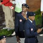 Kevin Durant, Andre Iguodala and Anthony Davis (right) march in with other U.S. athletes during the opening ceremonies in London.