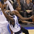 Durant goes to the basket against the Dallas Mavericks in Game 3 of the Western Conference first-round series.