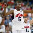 Kevin Durant celebrates winning a gold medal in London.
