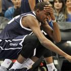 Durant reacts during a 99-93 loss to the Minnesota Timberwolves at the Target Center.