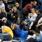 Kevin Durant lands in the stands during Game 4 of a first-round playoff series against Denver.