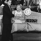 While guest hosteing for Johnny Carson, Leno presented a clock and counter regarding former Laker Wilt Chamberlain's promiscuity.