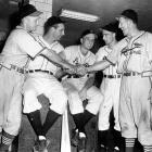 Players from St. Louis Cardinals and Pittsburgh Pirates congratulate each other after 10 home runs in their game to tie the major league record for home runs in a single game in Pittsburgh on Aug. 16, 1947. (Left to right) Cardinals' Whitey Kurowski, who hit two homers; Pirates' Hank Greenberg, two; Ralph Kiner, two; Billy Cox, two; and Cardinals' Terry Moore, one.