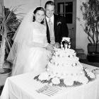Ralph Kiner and his bride, tennis player Nancy Chaffee, cut their wedding cake at a reception following their marriage in Santa Barbara, Calif., on Oct. 13, 1951.