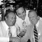 Stan Musial, Yogi Berra and Ralph Kiner share a laugh after Kiner was inducted into the Baseball Hall of Fame on Aug. 18, 1975 in Cooperstown, NY.