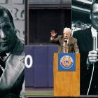 Kiner gestures while speaking on 'Ralph Kiner Night' at Shea Stadium in New York on July 14, 2007. In the background are photographs of him during his broadcasting career. The Mets pulled out all the stops to honor the voice of the team since it started playing in 1962.